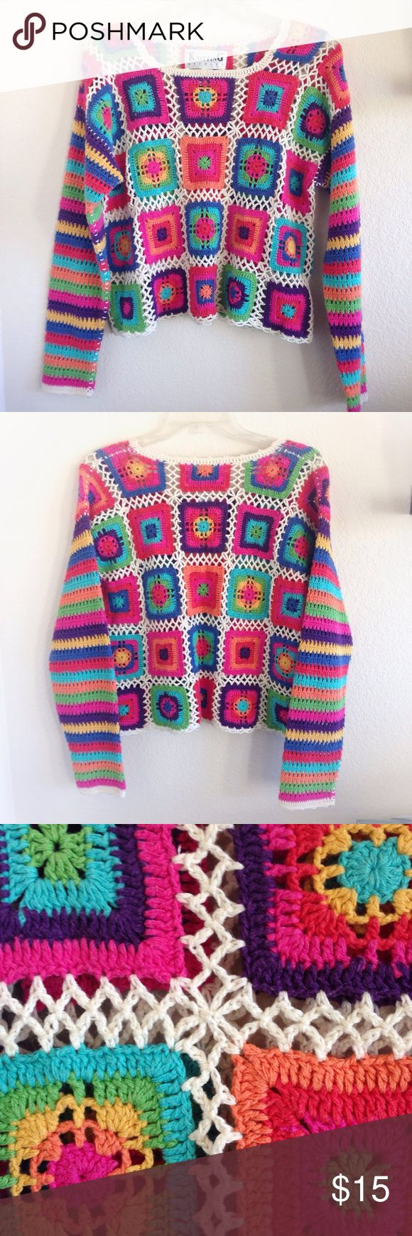 ✨Vintage✨70s Knit Rainbow Sweater! Free People CK B-e-a-u-t-I-f-u-l retro/vintage 70s knit sweater! In amazing vintage shape! I love this sweater with a white cami underneath, and a short tube skirt & cowboy boots. Very rare & unique item ❤️. Happy poshing, beauties! Free People Anthropologie Chicos Joe's Hippy 70's 60's 80's DKNY Nordstrom Calvin Klein Levi Ralph Lauren Sweaters Crew & Scoop Necks