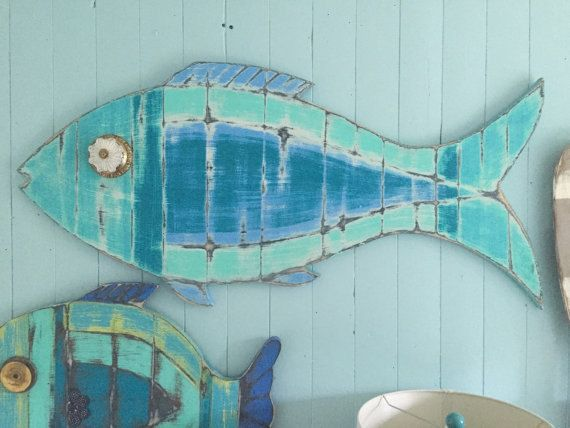 Fish Sign Beach House Weathered Wood Wall Art in Sea Glass Colours  MADE TO ORDER - Please allow up to 10 business days to order.  This big
