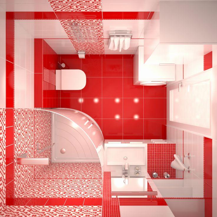 Bathroom desing Red bathroom Top view Красная ванная комната Вид сверху