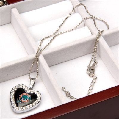 Touch by Alyssa Milano Miami Dolphins Ladies Crystal Heart Team Logo Pendant Necklace