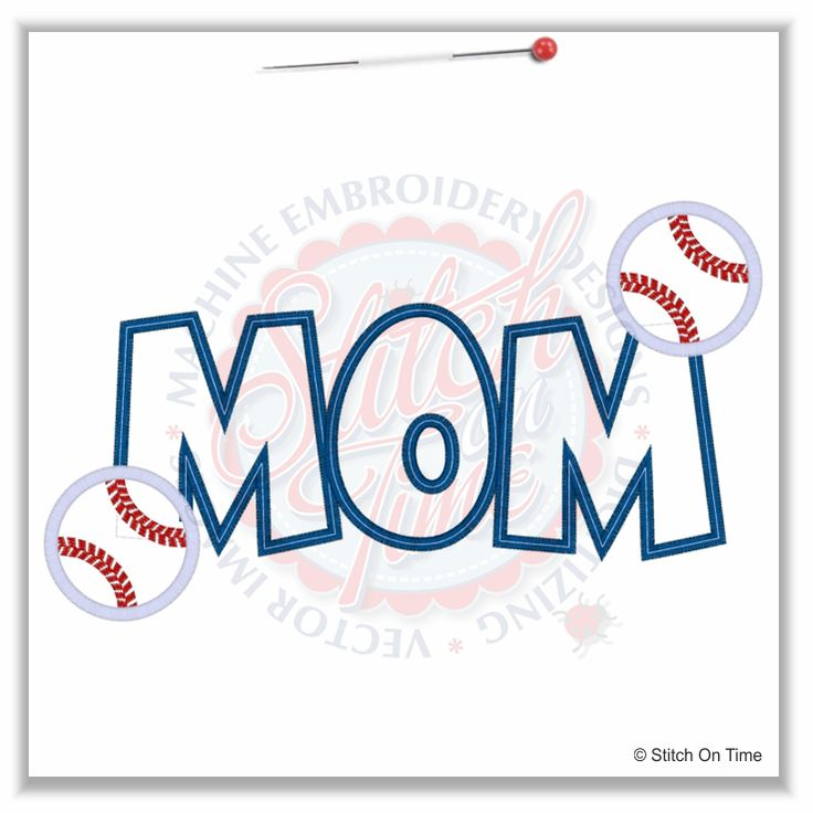 142 Baseball : Baseball Mom Applique 6x10