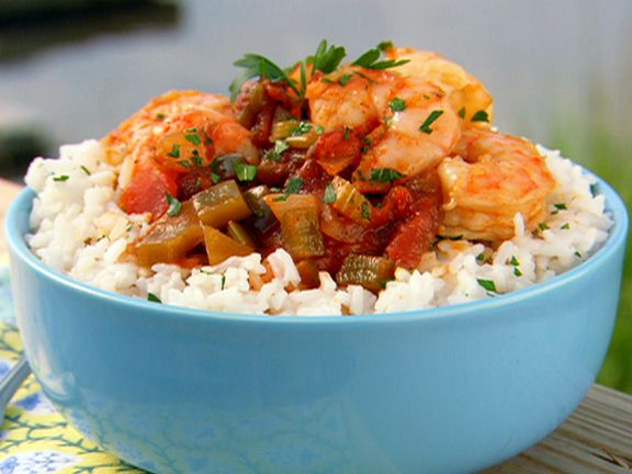 Paula Deen's Shrimp Creole from FoodNetwork.com (My father makes an absolutely GORGEOUS version of this dish. I want his recipe and the crabby old fart won't give it to me so I am going to make different ones until I find a comparable recipe, trump his, and make him mad he didn't give me his.)