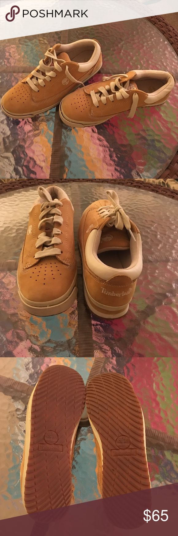 Timberlands💥♨️sale Tan low top timbs with cream accents. Woman's size 8M. Worn once for about 2-3 hrs inside only. They were just a bit to wide big for me. Timberland Shoes