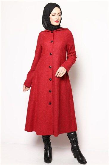 Kapşonlu Kaban Kırmızı Byh 1861