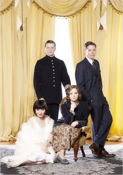 Essie Davis, Hugo Johnstone-Burt, Ashleigh Cummings, and Nathan Page as Phryne, Hugh, Dot, and Jack