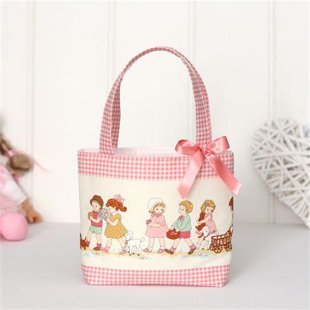 Mini Tote Bag for Little Girls - Vintage Children Print