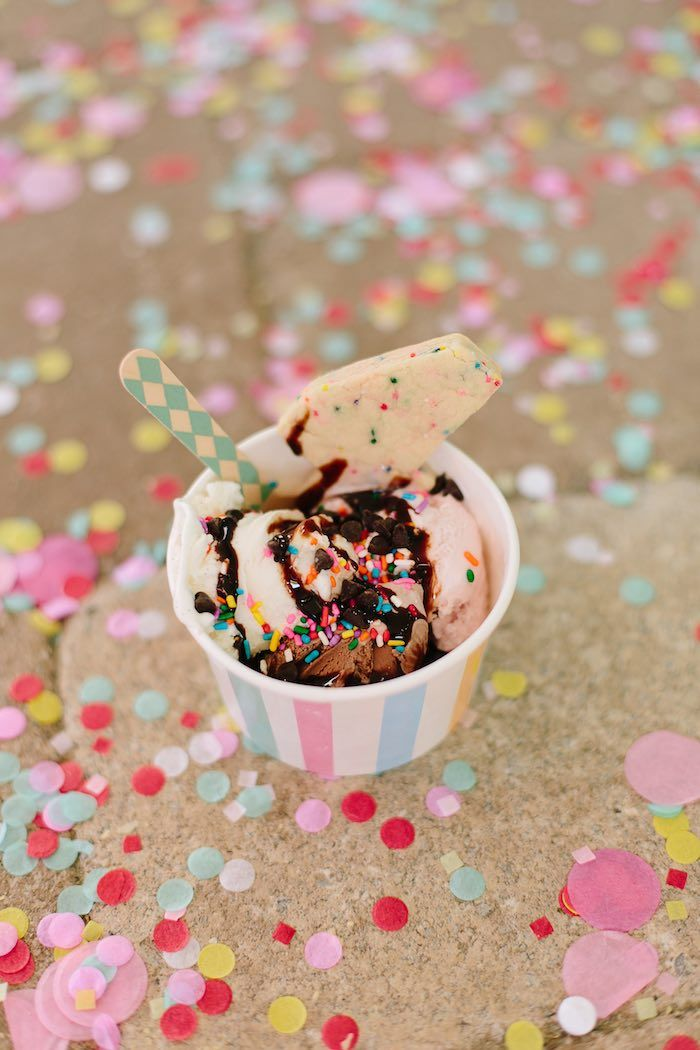 Ice cream and confetti from Confetti Inspired Ice Cream Birthday Party at Kara's Party Ideas. See more at karaspartyideas.com!