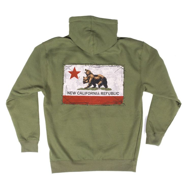 Men's army green full-zip hoodie with the New California Republic flag screenprinted on back with embroidered logo on left chest.