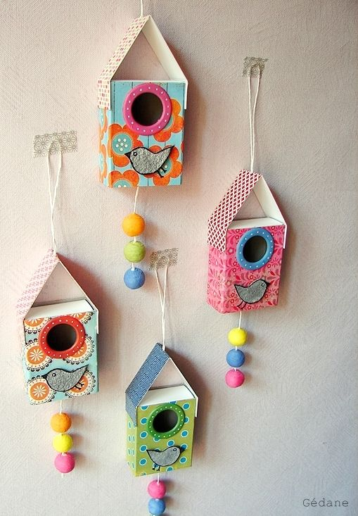 Matchbox Bird Houses. So cute. Would look great hanging in a kid;s bedroom.