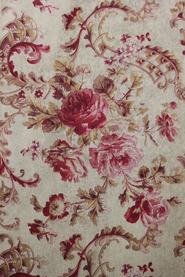 Floral Fabric Antique French Rococo Rose Scroll C 1900