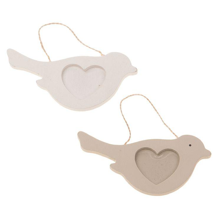 Houten frame vogel met hart, 10st.Afmetingen: 11 x 5,5 cm. - Houten Frame Vogel met Hart, 10st.