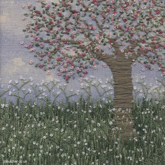 Embroidered Apple Blossom Meadow
