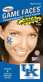 Kentucky UK Wildcats Game Faces Waterless Temporary UK Tattoos - Set of 4 $3.25