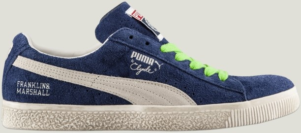 The new Puma #Clyde #sneakers restyled for Franklin & Marshall, available in estate blue