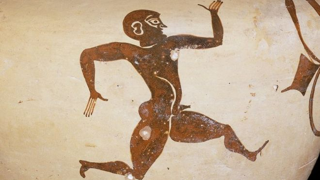 Fikellura style amphora with a running man530 BC - 500 BC