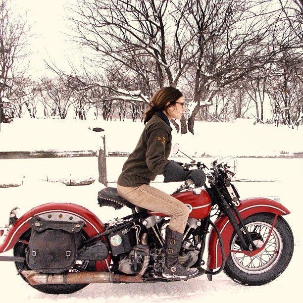 Brittney Olsen on an old Harley Davison, photo by Mathew Olsen.