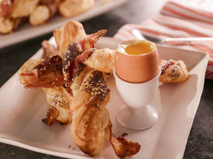 Get this all-star, easy-to-follow Bacon-Cheddar Twists with Soft-Cooked Eggs recipe from Bobby Flay