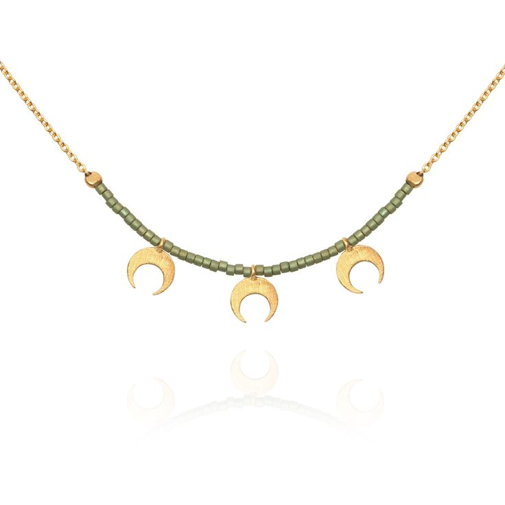 TEMPLE OF THE SUN JEWELLERY BYRON BAY - Seed Bead Necklace with Gold Chain and Moon Olive Green , $139.00 (http://www.templeofthesun.com.au/seed-bead-necklace-with-gold-chain-and-moon-olive-green/)