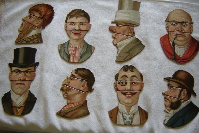 Antieke puzzel veranderende gezichten - 36 stuks  Het materiaal is de reden waarom deze stukken zijn bewaard gebleven in zo'n goede conditie. Elke volledige figuur is ongeveer 16 cm hoog. sommige kleine gebruikssporen weergegeven in de foto's.  EUR 1.00  Meer informatie