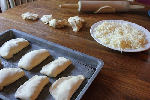 DIY pizza pockets: for freezer meals.  I use pepperoni instead of ground beef