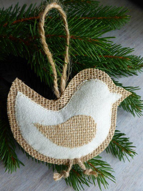 burlap bird ornament - Home Decor -