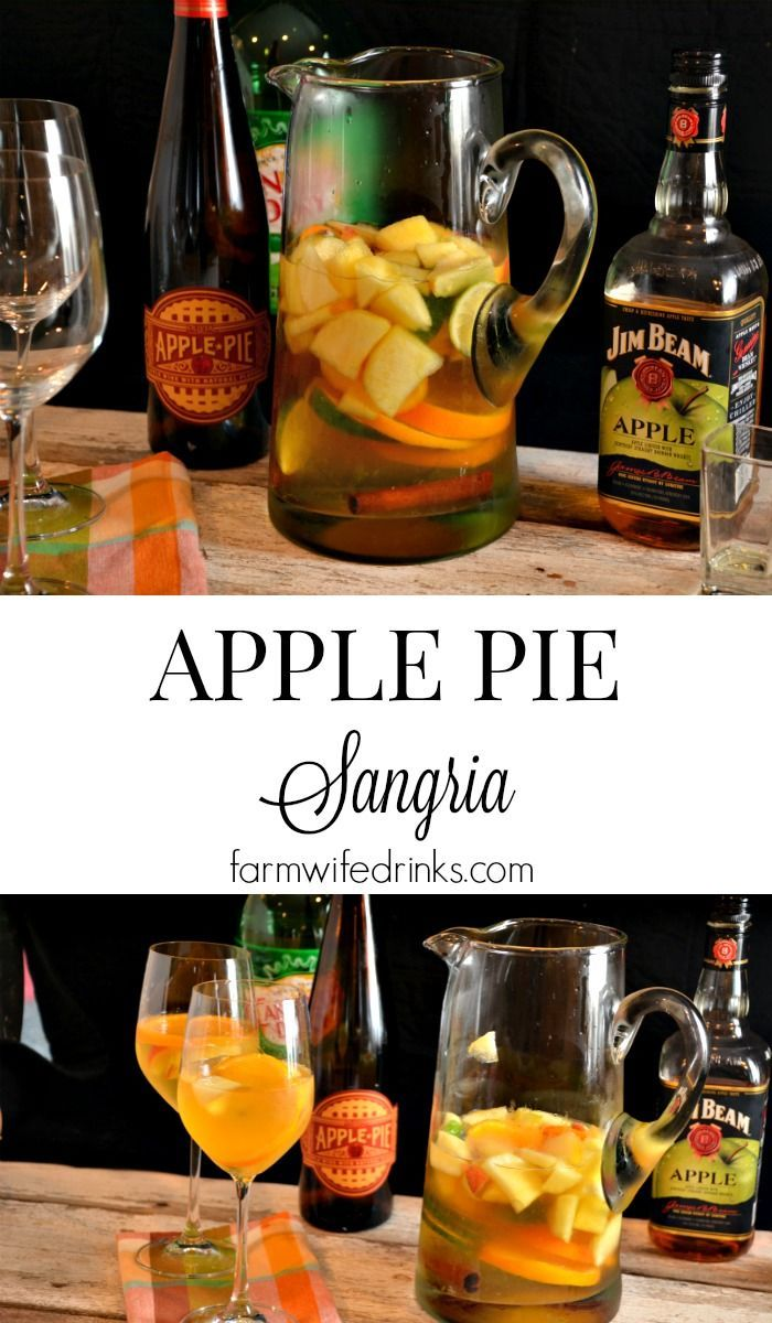 The flavors of fall are wrapped into one big pitcher of apple pie sangria. Combining Jim Beam apple bourbon with the wine to intensify the fall flavors.