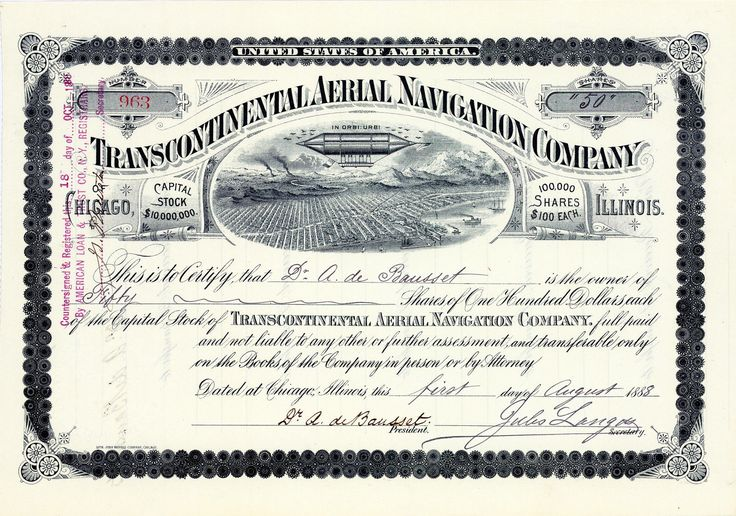 Transcontinental Aerial Navigation, Chicago, Aktie von 1888 + MUSEALE RARITÄT!
