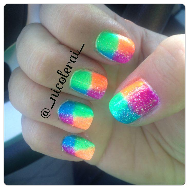 Nail Art - Summer nails #summernails #brightnails @_nicolerai_