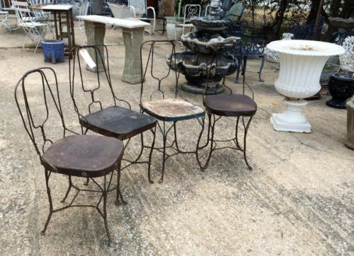 Antique Folk Art Metal Ice Cream Chairs Set Of Four $395 Set Country Garden  Antiques 147
