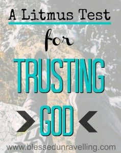 If only there was a simple test to discover whether I am trusting in God… or in…