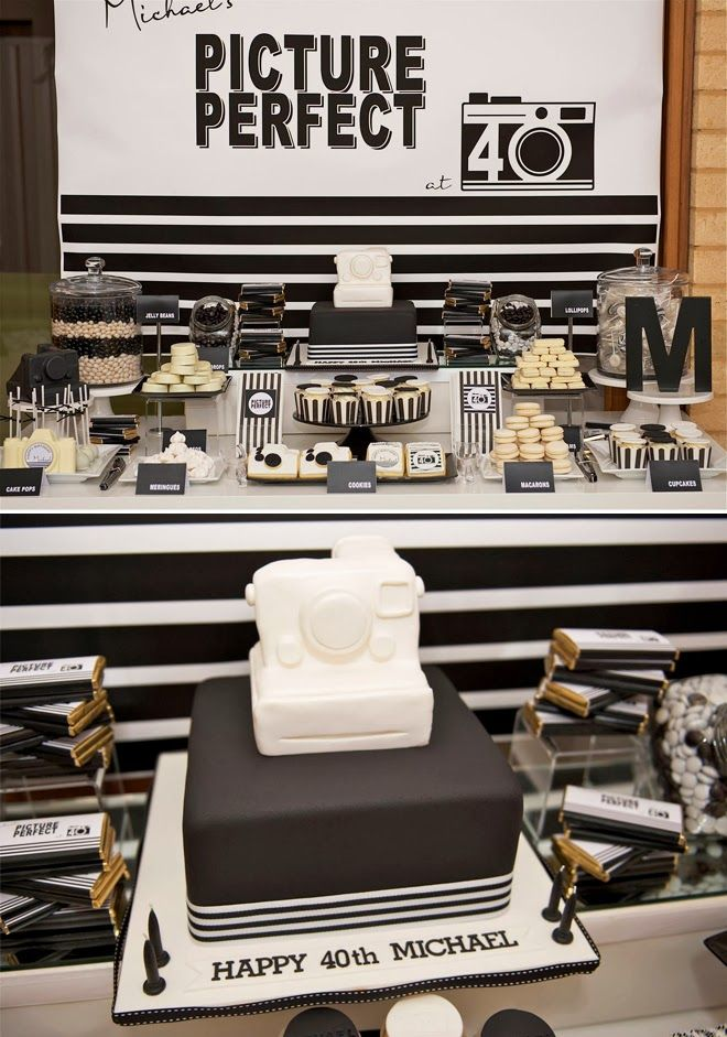 Modern Black And White Party For A Man Dessert Table