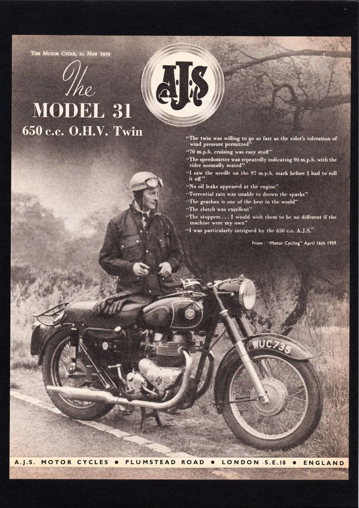 MAY 1959 AJS MODEL 31 MOTORCYCLE 650 TWIN.MAGAZINE ADVERT.