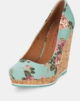 Flowery Cork Wedge Shoes Floral Print, Blue, Very