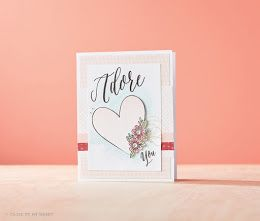 This love-inspired card was designed and created by the clever team in the  CTMH Art Department and features the January 2017 Stamp of the Month, Adore You. This gorgeous SotM is available only in January 2017 for $27 or for $7.50 with a qualifying purchase. See www.ScrapStampShare.closetomyheart.com.au for more details.