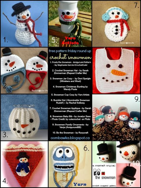 Free Patterns: some gorgeous snowmen designs for Christmas.