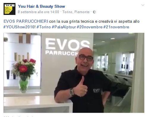 EVOS PARRUCCHIERI con la sua grinta tecnica e creativà vi aspetta allo #YOUShow2016! #Torino #PalaAlptour #20novembre #21novembre