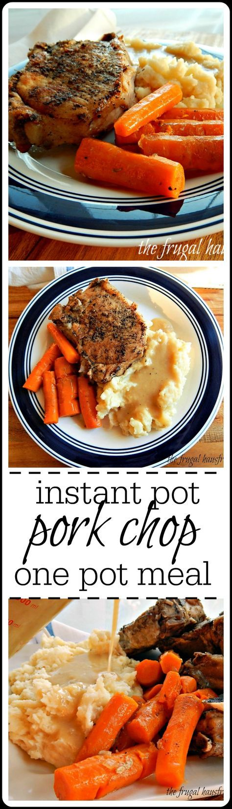 Instant Pot Pork Chops - the whole meal is cooked at once, then the potatoes mashed and the gravy made right in the instant pot.