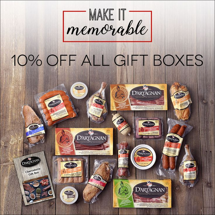 Whether you're buying for friends, family, food lovers or yourself, D'Artagnan gift boxes and recipe kits make gift giving easy and enjoyable. From charcuterie gift boxes packed with bold flavors, to our signature Cassoulet Kit, the assortment of gifts below are sure to please.   Recipe Kits and Gift Boxes 10% OFF  Offer ends 11:59 am EST, Thursday, December 21, 2017.