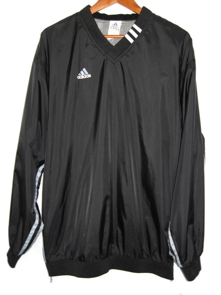 adidas mens black vneck pullover windbreaker track jacket size l large adidas coatsjackets 25. Black Bedroom Furniture Sets. Home Design Ideas