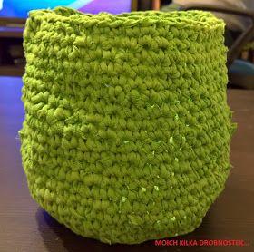 Koszyczek z T-shirtu DIY / Recycled T-shirt yarn basket DIY