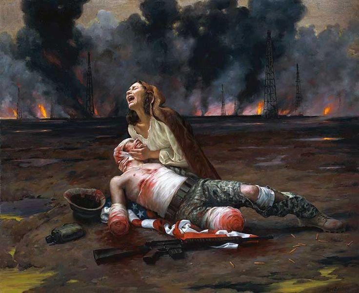 """Op dit plaatje zie je een vrouw die huilt om haar """"geliefde/familielid"""". Het laat zien wat er na de strijd over is gebleven van iemand. De gewonde haalt vele reacties los bij de vrouw. Het rood in dit schilderij valt erg op. Het rood van het bloed dat door het verband heen komt, maar ook het rood van de Amerikaanse vlag waar de gewonde op ligt. Beide figuren steken af van de achtergrond. Dit komt omdat zij meer in het ligt staan en er is niets dat hun overlapt."""