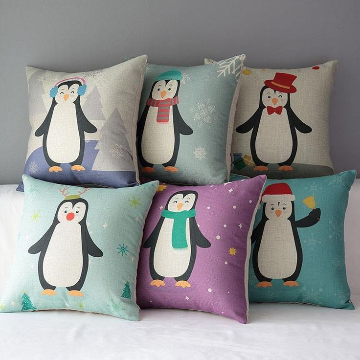 45cm Merry Christmas Gift Penguin Cotton Linen Fabric Throw Pillow 18inch  Handmade New Home Office Bedroom