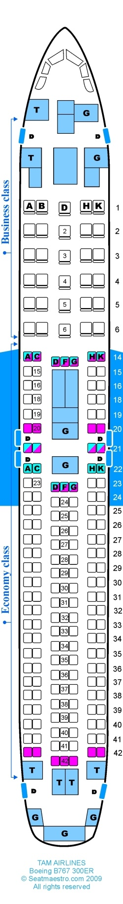 TAM Airlines - Boeing B767 300ER Mapa de asientos