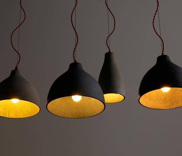 cast concrete pendant lights SWOON