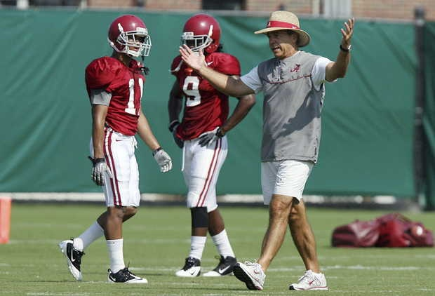 Alabama coach Nick Saban gestures during NCAA college football practice Wednesday, Aug. 8, 2012, in Tuscaloosa, Ala.