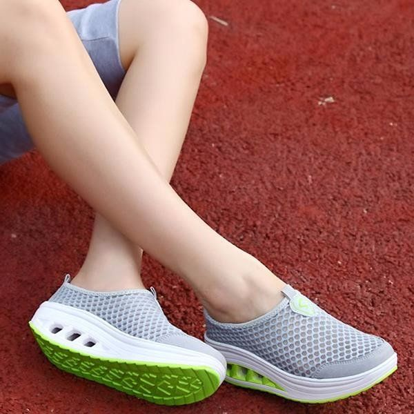 f885142c7bfd Comfortable Mesh Breathable Pure Color Slip On Athletic Platform Casual  Sport Shake Shoes - NewChic