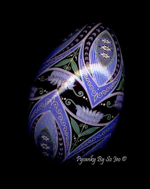 Made to Order Purple Floral Pysanka Batik Egg by PysankyBySoJeo, $150.00