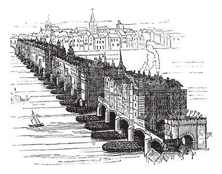 Antiguo medieval Puente de Londres en Inglaterra Reino Unido en 1616 poca ilustraci n grabada Encicl Foto de archivo