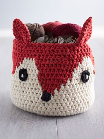 DIY Foxy Stash Basket, crocheted