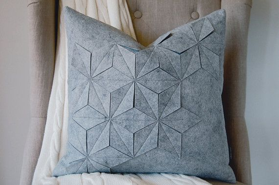 White Nest | Geometric Grey Wool Felt 18x18 Throw Pillow with Down Insert | $75.00